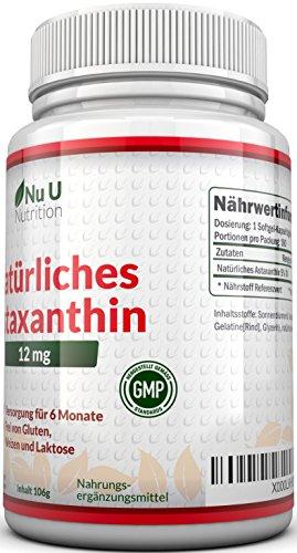 Astaxanthin 12 mg hochdosiert - 6-Monats-Versorgung - 180 Softgel-Kapseln - Nahrungsergänzungsmittel von Nu U Nutrition - 2