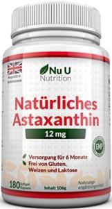 Astaxanthin 12 mg hochdosiert - 6-Monats-Versorgung - 180 Softgel-Kapseln - Nahrungsergänzungsmittel von Nu U Nutrition - 1