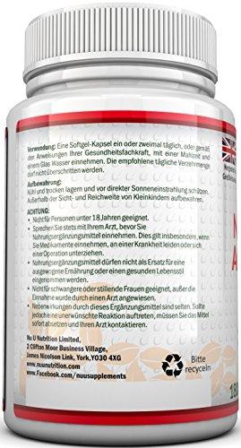 Astaxanthin 12 mg hochdosiert - 6-Monats-Versorgung - 180 Softgel-Kapseln - Nahrungsergänzungsmittel von Nu U Nutrition - 4