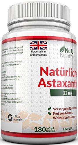 Astaxanthin 12 mg hochdosiert - 6-Monats-Versorgung - 180 Softgel-Kapseln - Nahrungsergänzungsmittel von Nu U Nutrition - 5