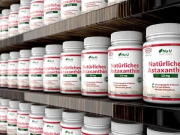 Astaxanthin 12 mg hochdosiert - 6-Monats-Versorgung - 180 Softgel-Kapseln - Nahrungsergänzungsmittel von Nu U Nutrition - 6
