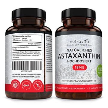 Astaxanthin 18 mg - Hochdosiert - 6-Monats-Versorgung - 180 Kapseln - Laborgeprüft - Premium Qualität - Hergestellt aus der Microalge Haematococcus Pluvialis - Höchste Dosierung auf dem Markt - 2