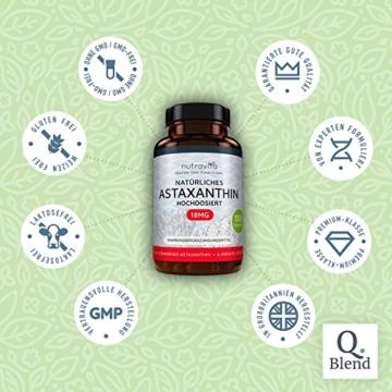 Astaxanthin 18 mg - Hochdosiert - 6-Monats-Versorgung - 180 Kapseln - Laborgeprüft - Premium Qualität - Hergestellt aus der Microalge Haematococcus Pluvialis - Höchste Dosierung auf dem Markt - 3