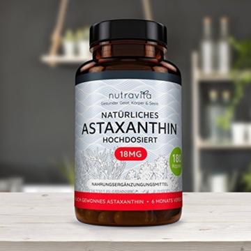 Astaxanthin 18 mg - Hochdosiert - 6-Monats-Versorgung - 180 Kapseln - Laborgeprüft - Premium Qualität - Hergestellt aus der Microalge Haematococcus Pluvialis - Höchste Dosierung auf dem Markt - 4