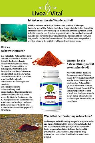 Astaxanthin Kapseln 4mg - Stärker als Coenzym Q10 und OPC - 100% Natürliche Antioxidantien aus Mikroalge Haematococcus Pluvialis - Starke Antioxidative Wirkung Ohne Zusätze - 60 Softgelkapseln - 5