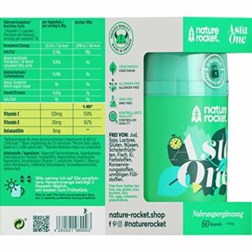 Natürliches Premium Astaxanthin 4mg Antioxidans Nahrungsergänzungsmittel 60 Kapseln mit je 88mg Mikroalge Vitamin C, E - 6